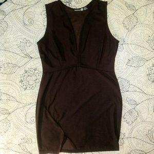 sexy plunge neckline brown mini dress comfy fit M
